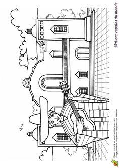 Coloriage / dessin hacienda  : maison Amérique du Sud