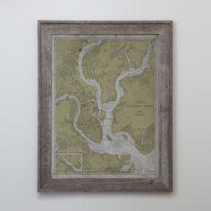 Charleston Map: 20th C. Nautical Map of Charleston Harbor, South Carolina