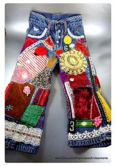 3802b7a084da 1970s Hippie, Hippie Boho, Hippie Jeans, Patchwork Jeans, Plus Size Vintage,