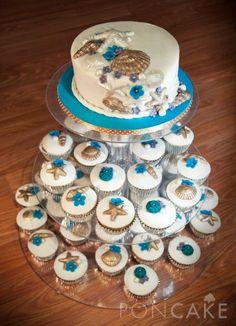 Beach Wedding Cake and Cupcakes - Torta y Cupcakes para Boda de Playa