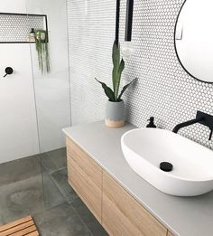 Added a little texture to this ensuite with these beautiful matte penny round tiles . - Added a little texture to this ensuite with these beautiful matte penny round tiles . Upstairs Bathrooms, Laundry In Bathroom, Bathroom Wall, Bathroom Basin, Bathroom Storage, Bathroom Layout, Bathroom Colors, Bathroom Fixtures, Concrete Bathroom