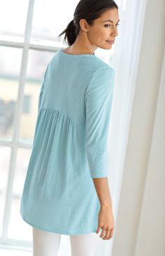 pure jill light shirred-back tunic