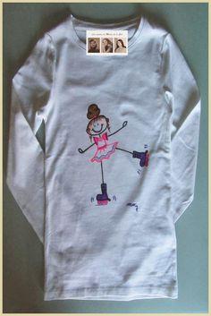Camiseta personalizada y hecha a mano patinadora