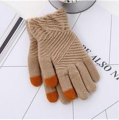 Cheapest Gloves Winter Style for Touch Screen Separated Fingers Knitted Fleece Keep Warm Unisex Gloves Light Brown