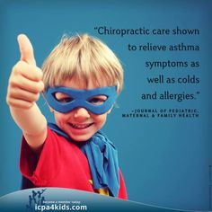 """care shown to relieve asthma symptoms, as well as colds and allergies"""" -Journal of Pediatric, Maternal & Fa. - Chiropractic care shown to relieve asthma symptoms, as well as colds and allergies"""" -Journal of Pediatric, Maternal & Fam Asthma Symptoms, Chiropractic Care, Chiropractic Office, Family Chiropractic, Debt Payoff, Debt Repayment, For Your Health, Health And Safety"""