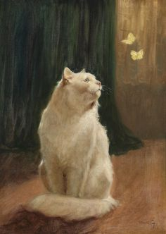 "https://flic.kr/p/DqytCR | Arthur Heyer ""White Cat and Two Brimstone Butterflies"" 19th century 