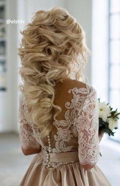 Long Curly Wedding hairstyle idea via Elstile