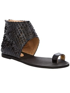 Black leather sandals from Maison Martin Margiela featuring a toe loop, a scaled effect ankle cover and a zip at the back. Luxury Fashion, Mens Fashion, Black Leather Sandals, Designer Sandals, Flat Sandals, Chunky Heels, Open Toe, Espadrilles, High Heels