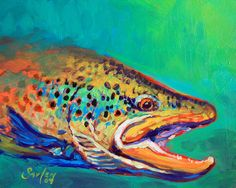 Brown Trout Portrait by Mike Savlen - Brown Trout Portrait Painting - Brown Trout Portrait Fine Art Prints and Posters for Sale