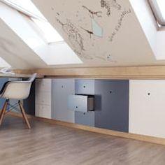Projekt pokoju dla ucznia nowoczesny pokój dziecięcy od coi pracownia architektury wnętrz nowoczesny | homify Cool Bedroom Furniture, Awesome Bedrooms, Kids Bedroom, Playroom, Montessori, Cabinet, Storage, Cool Stuff, Bathroom
