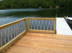 Awesome Cantilevered Deck And Nautical Railing House And Home with regard to sizing 2592 X 1936 Nautical Rope Deck Railing - Whether you Pick a deck or a patio will be contingent on the size Deck Railing Design, Deck Railings, Deck Design, Railing Ideas, Rope Railing, Rope Fence, Fence Ideas, Balcony Railing, Lake Cabins