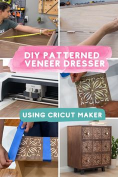 This will blow your mind! Cool Cricut Maker project for woodworking. Learn how to build this easy custom DIY dresser with beautifully patterned drawer fronts. The step by step tutorial and woodworking plans will guide you through step by step. #anikasdiylife #ad #cricut #cricutmade Woodworking Furniture Plans, Woodworking Projects That Sell, Beginner Woodworking Projects, Diy Woodworking, Kreg Jig Projects, Scrap Wood Projects, Diy Furniture Projects, Wood Projects For Beginners, Easy Diy Projects