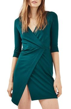 Topshop Ponte Faux Wrap Minidress available at #Nordstrom