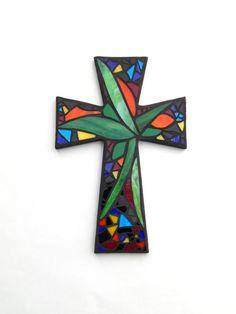 Large Mosaic Wall Cross Abstract Floral by GreenBananaMosaicCo