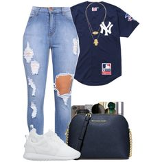 A fashion look from February 2016 featuring Supreme tops, NIKE sneakers and MICHAEL Michael Kors shoulder bags. Browse and shop related looks.