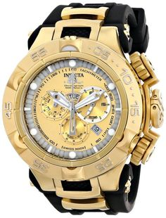 Gold watches for men Invicta Men\'s 15926 Subaqua Analog Display Swiss Quartz Black Watch