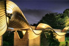 Singapore's Henderson Waves Bridge view at night. #design #architecture