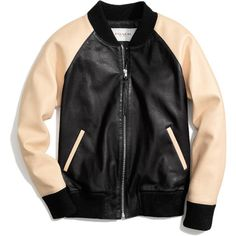 LEATHER VARSITY JACKET (20,150 MXN) ❤ liked on Polyvore featuring outerwear, jackets, tops, coats, collar jacket, varsity style jacket, tailor leather jacket, colorblock leather jacket and collar leather jacket