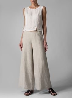 Heavy Linen Wide Leg Long Pants Oat -- these fit perfectly and are so comfortable! Great quality too! Miss Me Outfits, Cool Outfits, Casual Outfits, Casual Summer Dresses, Summer Outfits, Dress Casual, Fashion Pants, Fashion Outfits, Womens Fashion