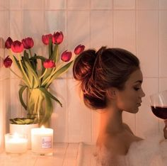Bubble bath, candles, flowers, and wine. Complete relaxation