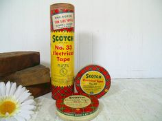 Vintage Scotch Electrical Tape Canisters Trio for Collection Display - Set of 3 Scotch Plaid Advertising Tins - 3M Minnesota Mining & Mfg Co by DivineOrders