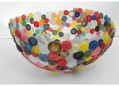 Recycled Button Bowl Rainbow Colors by kristentool on Etsy, $32.00