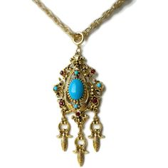 Long Gold Dangle Pendant With Turquoise and Ruby Rhinestones by... ($24) ❤ liked on Polyvore featuring jewelry, pendants, ruby pendant, ruby jewelry, boho turquoise jewelry, gold jewelry and gold ruby pendant