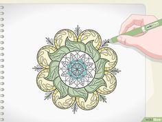 3 formas de dibujar mandalas - wikiHow Easy Mandala Drawing, Mandala Art Lesson, Simple Mandala, Mandala Artwork, Easy Skull Drawings, Detailed Drawings, Mandela Drawing, Bright Colors Art, Hindu Art