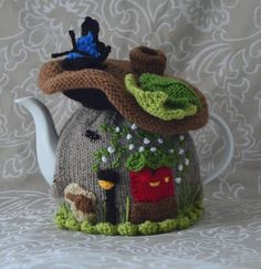 (6) Name: 'Knitting : Fairy Mushroom House Tea Cosy