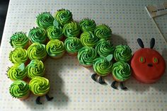 Caterpillar Cupcake Cake~ By Coco Cake Land - Cakes Cupcakes Vancouver BC: The Hungry Caterpillar Cupcake Party Train! Cakes To Make, How To Make Cake, Hungry Caterpillar Cupcakes, Very Hungry Caterpillar, Caterpillar Book, First Birthday Cakes, 1st Birthday Parties, Birthday Cupcakes, 2nd Birthday