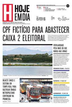 Capa do dia 15/02/2016 #HojeEmDia #Jornal #Notícias #News #Newspaper