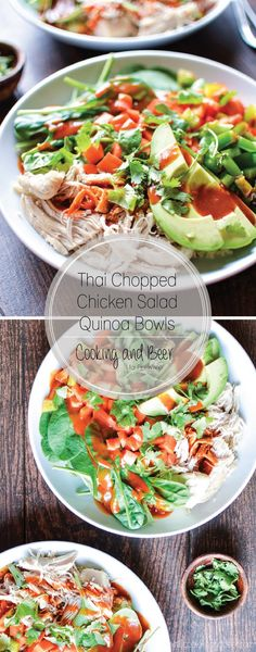 Thai Chopped Chicken Salad Quinoa Bowls: a weeknight dinner recipe that combines all of your favorite Thai flavors!