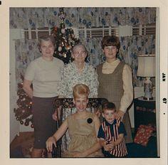 Old Vintage Photograph Family Christmas Tree Retro Room Crazy Puffy Hairdoo 1967