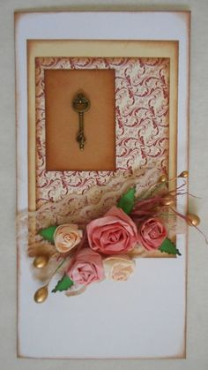 Romantic vintage style card with coffee filter roses. Full tutorial here http://madebysini.blogspot.com