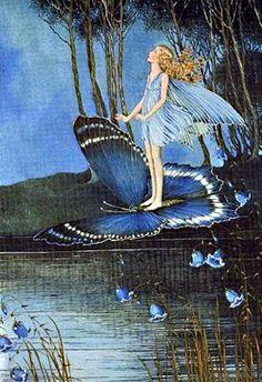 by Ida Rentoul Outhwaite Australian illustrator Fairy Dust, Fairy Land, Fairy Tales, Blue Fairy, Art And Illustration, Fantasy Kunst, Fantasy Art, Arte Fashion, Cicely Mary Barker