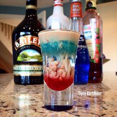 Alien Brain Hemorrhage Shot - For more delicious recipes and drinks, visit us here: www.tipsybartender.com