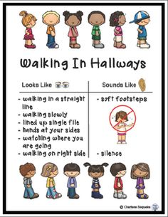 Walking in hallways can sometimes be a challenge. Click the image to get a copy of the chart above as well as some other posters and ideas on how to line up effectively.