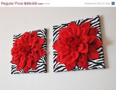 "MOTHERS DAY SALE Two Wall Flowers -Red Dahlia Flowers on Black and White Zebra Print 12 x12"" Canvas Wall Art- Baby Nursery Wall Decor-"