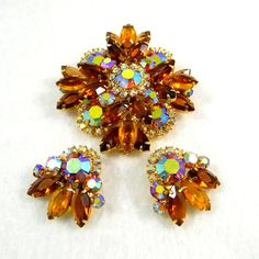 Delizza and Elster Juliana Brooch and Earring by ElizaBellaVintage