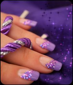 Lilac French using Color Club's Pucci-licious with a splash of glitter