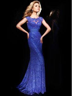 2015 Style Shiny Lace Sheath/Column Round Neckline Floor Length Prom Dress