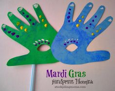 Brazil/Germany/New Orleans: Carnaval/Karneval/Mardi Gras Handprint Mask Craft Kids Crafts, Daycare Crafts, Preschool Crafts, Craft Projects, Arts And Crafts, Craft Kids, Kids Fun, Face Masks For Kids, Mardi Gras Party