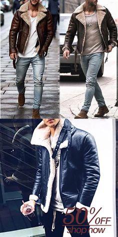 Men Leather Jacket Winter,Vanvler Male Warm Faux Fur Liner Coat Highneck Lapel Zipper Outwear Parka