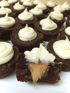 Looking for a way to spice up your go to dessert? Try these brownie bites with a caramel filling and a caramel cream cheese frosting.