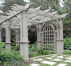 Pergola and arched lattice...