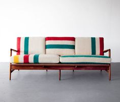 Some more quirkiness in the upholstery. beautiful simplicity Mid-century modern Teak frame sofa by Danish architect and furniture designer Ib Kofod-Larsen, with new cushions upholstered in deadstock Hudson Bay blankets. Modern Furniture, Home Furniture, Furniture Design, Danish Furniture, Chair Design, Danish Sofa, Furniture Dolly, Furniture Removal, Plywood Furniture