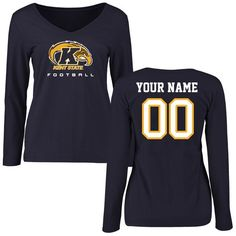 Kent State Golden Flashes Women's Personalized Football Slim Fit Long Sleeve T-Shirt - Navy - $42.99