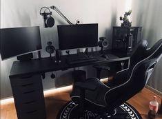 Gaming Desk Setup, Computer Gaming Room, Pc Setup, Gaming Chair, Gaming Desk Black, Computer Workstation, Gaming Rooms, Pc Desk, Black Desk
