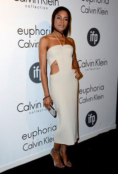 @roressclothes clothing ideas #women fashion Naomie Harris Halter: White Cutout Dress by Calvin Klein