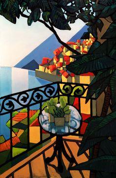 Balcón con cactus / Balcony with cactus. Óleo sobre tela / oil on canvas. (2015). . #arte #art #pintura #painting #dibujo #drawing #ilustracion #illustration #diseño #design #diseñografico #diseñográfico #graphicdesign #sketch #sketchbook #doodle #oleo #oilpainting